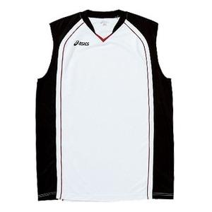 アシックス(asics) XB1350 ゲームシャツ Men's L 0190(ホワイト×ブラック×ストロングレッド)