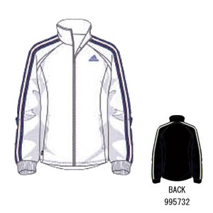 adidas(アディダス) R6730 adi-COOL ウォームアップジャケット XO ホワイト×パシフィックブルーS07