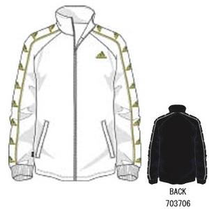 adidas(アディダス) H3613 adi-proudline2 ウォームアップジャケット L ホワイト×メタリックゴールド