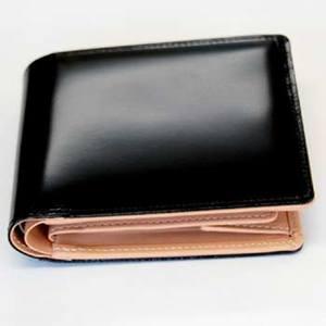 gowell(ゴーウェル) 【工房 悠】コードバン二つ折財布DW003 ブラック