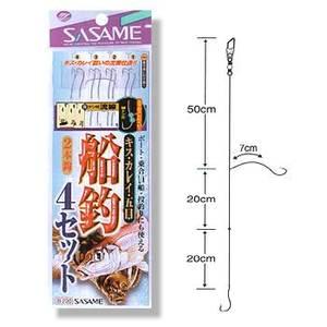 ささめ針(SASAME) 船釣4セット(ケン付流線) 鈎7/ハリス1.5 白