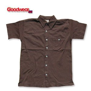 GOOD WEAR(グッドウェア) 半袖フルオープンシャツ L ブラウン