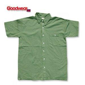GOOD WEAR(グッドウェア) 半袖フルオープンシャツ L オリーブ