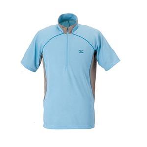 ミズノ(MIZUNO) ドライベクター・ライトインナー半袖ジップネックシャツ ハンソデシャツ Men's XL 17(スモークサックス)
