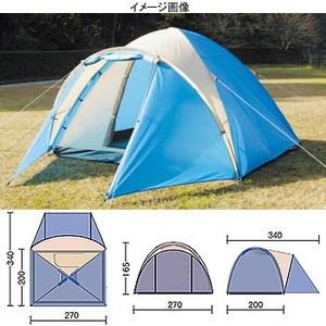 BUNDOK(バンドック) ドーム型テント4 UV Cブルー×Sベージュ