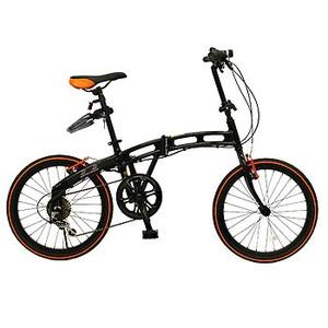 ドッペルギャンガー 20インチ折りたたみ自転車 202【カギ・ライト付】 ブラック×オレンジ