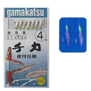 がまかつ(Gamakatsu) チカ皮付仕掛 秋田狐 発光 3.5号-0.8 茶金 13448