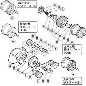 【クリックで詳細表示】シマノ(SHIMANO)パーツ:03 チヌマチック 1000 A-RB パーツ 細糸仕様:クリックバネ止メ輪 No.060