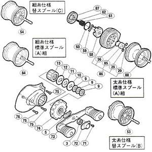 【クリックで詳細表示】シマノ(SHIMANO)パーツ:03 チヌマチック 1000 A-RB パーツ 細糸仕様:ドラグツマミ組 部品No.074