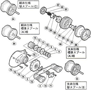 【クリックで詳細表示】シマノ(SHIMANO)パーツ:03 チヌマチック 1000 A-RB パーツ 細糸仕様:本体枠Bブッシュ 部品No.085