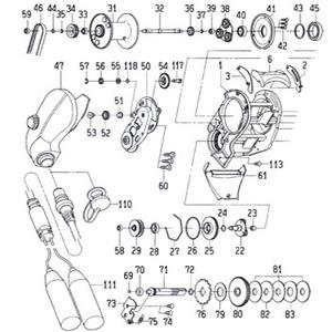 ダイワ(Daiwa) パーツ:シーボーグ 250FB セットプレートギヤーピン(部品No.117) 156:163