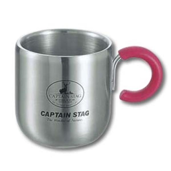 キャプテンスタッグ(CAPTAIN STAG) ピアリーダブルステンマグカップ280ml(ピンク) M-9133 ステンレス製マグカップ