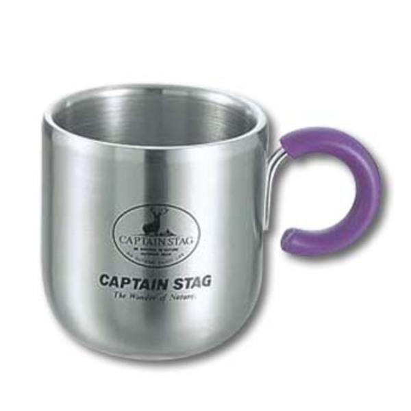 キャプテンスタッグ(CAPTAIN STAG) ピアリーダブルステンマグカップ280ml(パープル) M-9132 ステンレス製マグカップ
