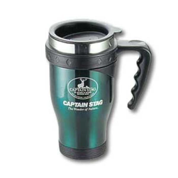 キャプテンスタッグ(CAPTAIN STAG) ジャスティス フタ付ダブルステンマグカップ460ml M-1239 ステンレス製マグカップ