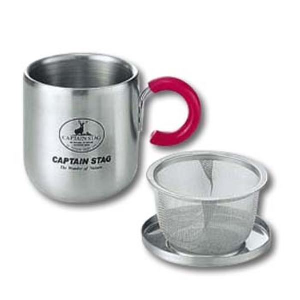キャプテンスタッグ(CAPTAIN STAG) ピアリーダブルステンマグカップ280ml(茶こし・フタ付)ピンク M-9130 ステンレス製マグカップ
