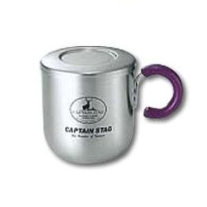 キャプテンスタッグ(CAPTAIN STAG)ピアリーダブルステンマグカップ280ml(茶こし・フタ付)パープル