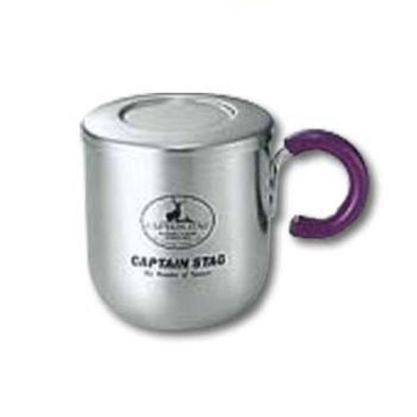 キャプテンスタッグ(CAPTAIN STAG) ピアリーダブルステンマグカップ280ml(茶こし・フタ付)パープル M-9129 ステンレス製マグカップ