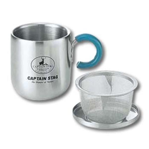 キャプテンスタッグ(CAPTAIN STAG) ピアリーダブルステンマグカップ280ml(茶こし・フタ付)グリーン M-9131 ステンレス製マグカップ