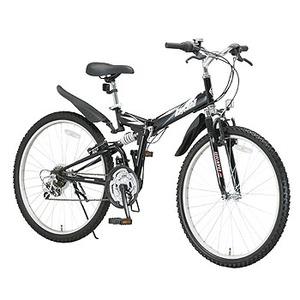 【送料無料】Raychell(レイチェル) 26インチ18段変速Wサスペンション装備折り畳みマウンテンバイク MTB-2618R 26インチ ブラック 10460