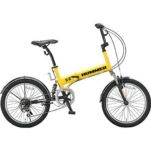 【送料無料】HUMMER(ハマー) 『折りたたみ自転車』20インチ 6段変速 Wサスペンション装備/HUMMER FDB206Wsus 20インチ イエロー 10571
