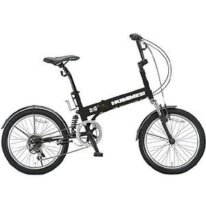 【送料無料】HUMMER(ハマー) 『折りたたみ自転車』20インチ 6段変速 Wサスペンション装備/HUMMER FDB206Wsus 20インチ マットブラック 10572