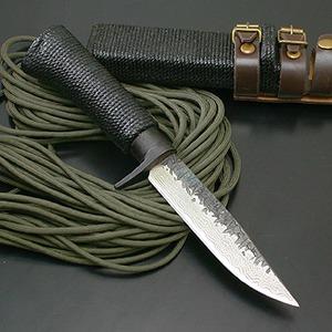 関兼常 関伝古式和鉄製錬 多重鋼紐巻漆細工匠・両刃 CW-23 シースナイフ