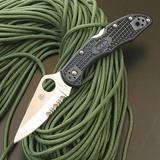 スパイダルコ #1011 デリカ 4 (半波刃)ブラックハンドル フォールディングナイフ