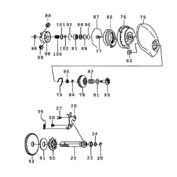 ダイワ(Daiwa) パーツ:TDジリオンHLC 100HL スプールホルダーW NO.101 190604 マグブレーキ用スプールパーツ