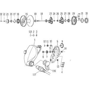 ダイワ(Daiwa) パーツ:シーボーグ400W モ-タ-ギヤ-ボールベアリング NO.013 10E144