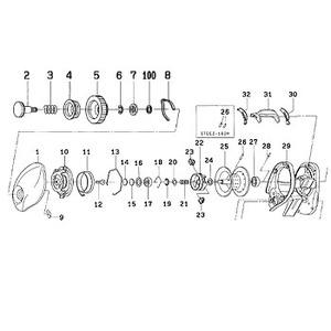 ダイワ(Daiwa) パーツ:STEEZ 100H スプールホルダー NO.022 132074