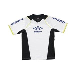 UMBRO(アンブロ) JR S/S プラクテイスシャツ 150 WBK(ホワイトxブラックxSLイエロー) UBS7230J