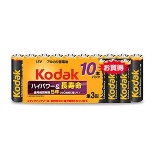 コダック(KODAK) アルカリ単三 10本パック LR6-10BK 電池&ソーラーバッテリー