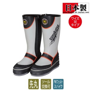 【送料無料】がまかつ(Gamakatsu) GM4410 フェルトスパイクブーツ(ワイド) 3L グレーxレッド 54410-5-0