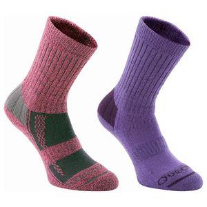 Quechua(ケシュア) FORCLAZ WARM ソックス 2色セット 16.5-19.0 PURPLE & PINK 8157198-1280036
