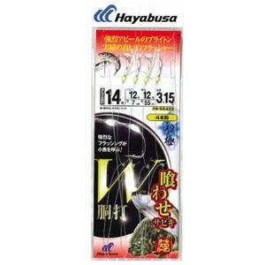 ハヤブサ(Hayabusa)船極喰わせサビキ W胴打 白フラッシャー&ブライトン(4本鈎1セット)