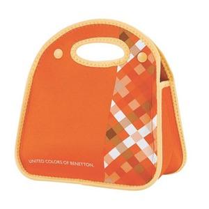 【送料無料】BENETTON(ベネトン) ソフトランチバッグ チェックxオレンジ MA-5380