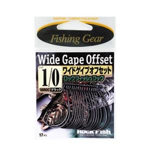 ささめ針(SASAME) ワイドゲイプオフセット ロックフィッシュフック 1/0号 黒 10ROC