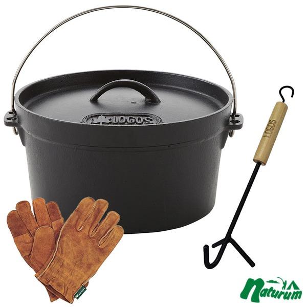 ロゴス(LOGOS) ダッチオーブン10インチ+ウッドグリップリフター+BBQ耐熱レザーグローブ【お得な3点セット】 R147N002 ダッチオーブン