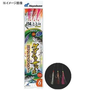 ハヤブサ(Hayabusa) 実戦サビキ20 ケイムラサバ皮 ミックスフラッシャー 6本鈎 鈎11/ハリス3 白×金 SS114