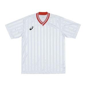 アシックス(asics) XS3138 JR.ゲームシャツHS 120 0123(ホワイトxレッド)