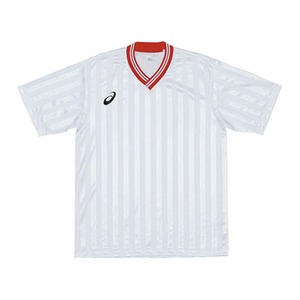 アシックス(asics) XS3138 JR.ゲームシャツHS 140 0123(ホワイトxレッド)