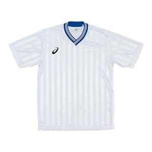 アシックス(asics) XS3138 JR.ゲームシャツHS 140 0145(ホワイトxブルー)