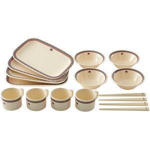 ロゴス(LOGOS) ナバホ パーティー箸付き食器セット4人用 81285000 メラミン&プラスティック製お皿