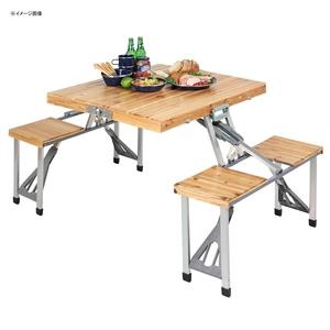 キャプテンスタッグ(CAPTAIN STAG) NEWシダー 杉製ピクニックテーブル UC-3 テーブル・チェアセット