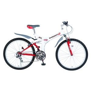 【送料無料】Switzsports(スウィツスポーツ) AIGLE 【エイグル】 フルサスペンション MTB型26インチ折畳自転車 【シマノ18段変速】 ホワイトxレッド MDL31006