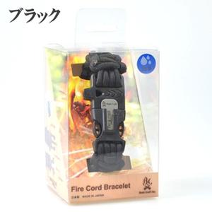 Bush Craft(ブッシュクラフト) ファイヤーコードブレスレット パラコード/メタルマッチ/火打石/ホイッスル付き S 手首約18cm ブラック 02-03-550f-0013