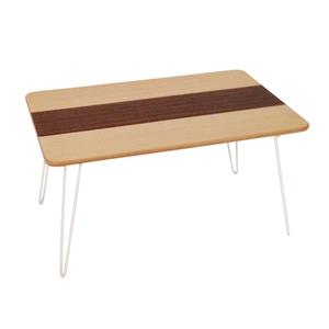 不二貿易 突板折畳ローテーブル ライン 6040 6040 NAxBR 0104953