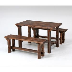【送料無料】不二貿易 焼杉テーブル&ベンチセット ナチュラル 0817624