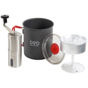 D.O.D(ドッペルギャンガーアウトドア) ラーメン、コーヒー、そして俺 クッカー・パーコレーター・ミルセット グレーxレッド RC1-468
