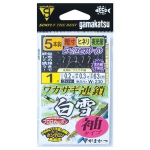 がまかつ(Gamakatsu) ワカサギ連鎖 白雪 袖タイプ 5本仕掛 W230 鈎1/ハリス0.2 42308